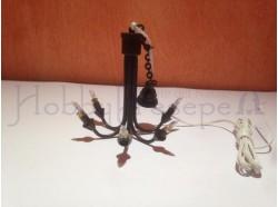 Lampadario a 6 braccia in metallo - Casa Bambole