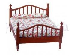 Letto in legno con materasso e cuscino - Casa bambole