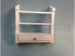 Mensola con cassettino in legno verniciato bianco -Casa Bambole