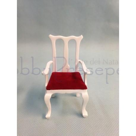 Sedia in legno bianco e seduta rossa - Casa Bambole