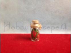 Vaso in vetro con peperoni e tappo in sughero - altezza cm. 2,8