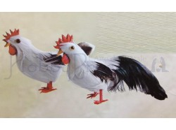 Gallo e gallina, colore bianco - altezza cm 5