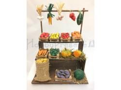 Bancarella con frutta e verdura in terracotta cm. 10