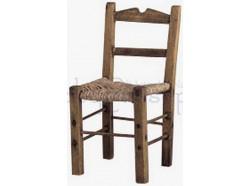 Sedia in legno impagliata proporzionata a statue di cm 15 - Presepi Pigini