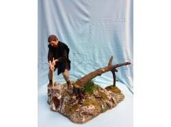 Boscaiolo che abbatte l\'albero con movimento - Presepi Pigini  cm 30