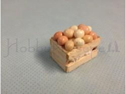 Cassetta in legno con uova - cassetta cm 1,8 x 2,8 x 1,4 h