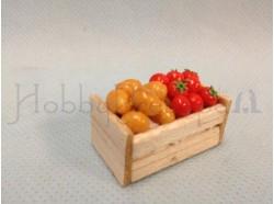 Cassetta in legno con verdura -  cm 3,4 x 2 x 1,5 h