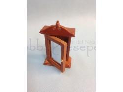 Armadietto pensile con specchio in legno verniciato