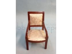 Sedia in legno con sedile in tessuto damascato Casa Bambole