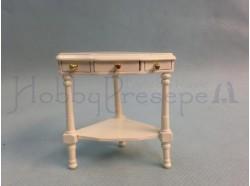 Tavolino d\'angolo  in legno verniciato bianco - Casa Bambole