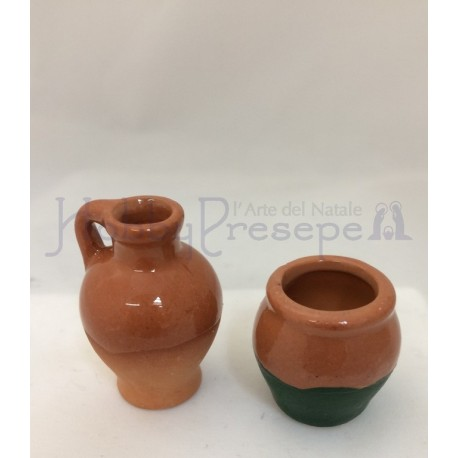 Anfora in terracotta smaltata - set 2 pezzi.