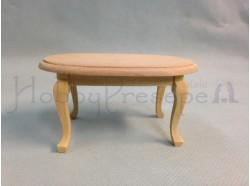 Tavolino ovale in legno chiaro grezzo - Casa Bambole