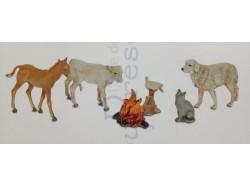 Animali : puledrino, vitellino, cane, oca, gatto, fuoco - Landi animali 10 CM