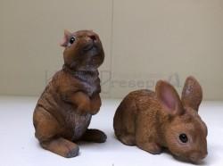 Conigli - copiia in resina misura cm 8x9x14