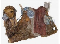 Cammello sdraiato con testa girata e finimenti da beduino - Presepi Pigini cm. 30