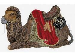 Cammello sdraiato con testa girata e finimenti regali - Presepi Pigini cm. 30