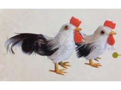 Gallo e gallina, colore bianco - altezza cm 4