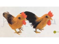 Gallo e gallina, colore rosso - altezza cm 4