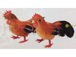 Gallo e gallina, colore rosso - altezza cm 5