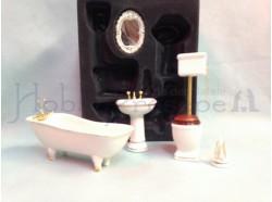Bagno in porcellana bianca e bordi dorati Casa Bambole