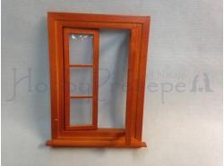 Finestra a due ante apribile in legno. Scala 1:12 -Casa Bambole