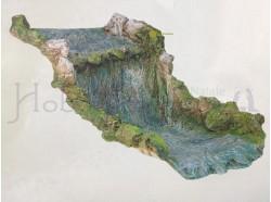Fiume cascata - Presepi Pigini  - dimensioni cm 63x35