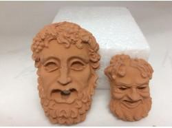 Testa Bacco e Zeus in terracotta - cm 6,8