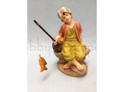 Pescatore con canna da pesca in mano - presepio CM.7