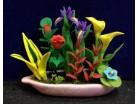 Fioriera in ceramica con piante- lunghezza cm. 5