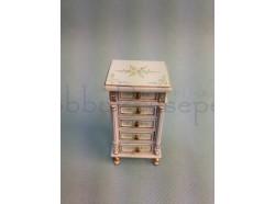 Cassettiera in legno  con decorazioni floreali - Casa bambole