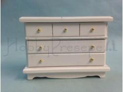 Cassettiera in legno vernciato bianco - Casa Bambole