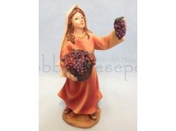 Pastorella  con uva in mano - presepio 12 CM