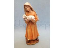 Pastorella con agnellino in braccio - presepio 15CM