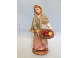 Pastorella con cesto di frutta in mano - presepio 15 CM