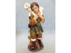 Pastorello con agnellino sulle spalle - presepio 15 CM