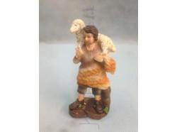 Pastorello con agnello in spalla - presepio cm 15