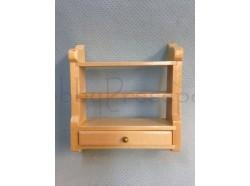 Mensola con cassettino in legno chiaro verniciato -Casa bambole