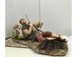 Dormiente con vesti popolari -  che respira  - Presepi Pigini