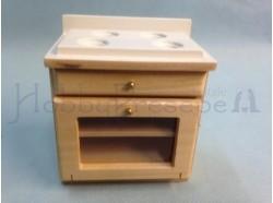 Fornello  in  legno naturale verniciato -  Casa Bambole