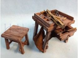 Banco da calzolaio con accessori - Presepi Pigini per statue da cm 20