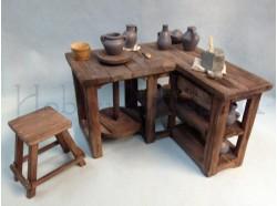 Banco da vasaio con accessori - Presepi Pigini  per statue da cm 30